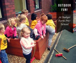 A photo of children playing outside with the text Outdoor fun! At Badger Farm Pre-School