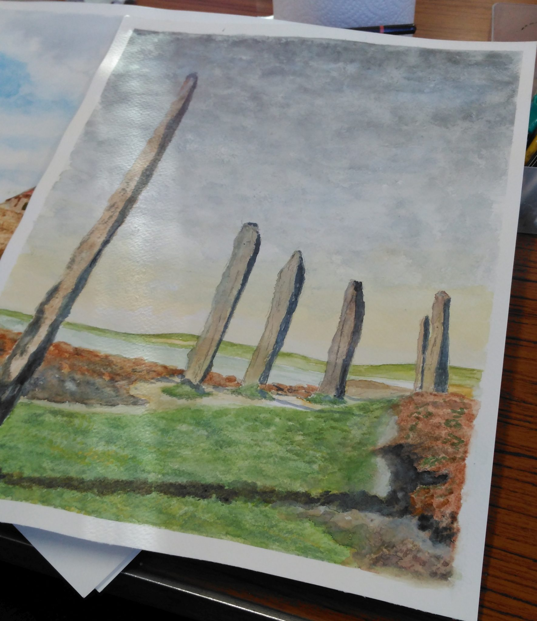 A watercolour of standing stones