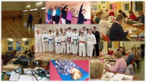 A collage of photos: Pilates, Art, Tae Kwon-Do