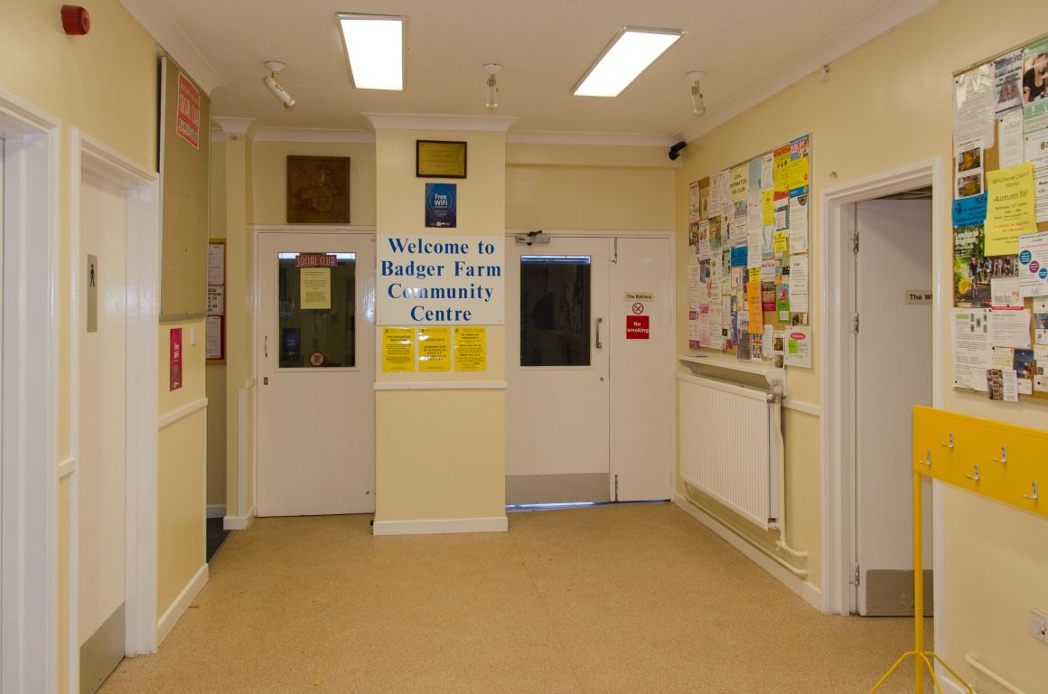 The foyer of the Badger Farm Community Centre