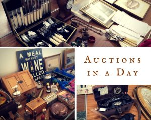 A photo collage showing vintage objects for auction including an old telephone and a cutlery set with the text Auctions in a Day