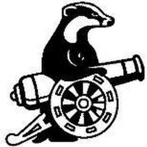 Our logo is a line drawing of a badger and a cannon.