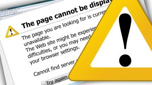 A graphic showing a 404 page not found screen with a yellow warning traingle