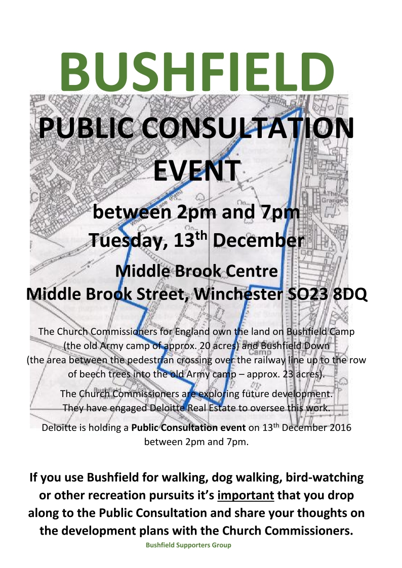 A poster giving details of the Bushfield public consultation event showing a map of the Bushfield area of Winchester