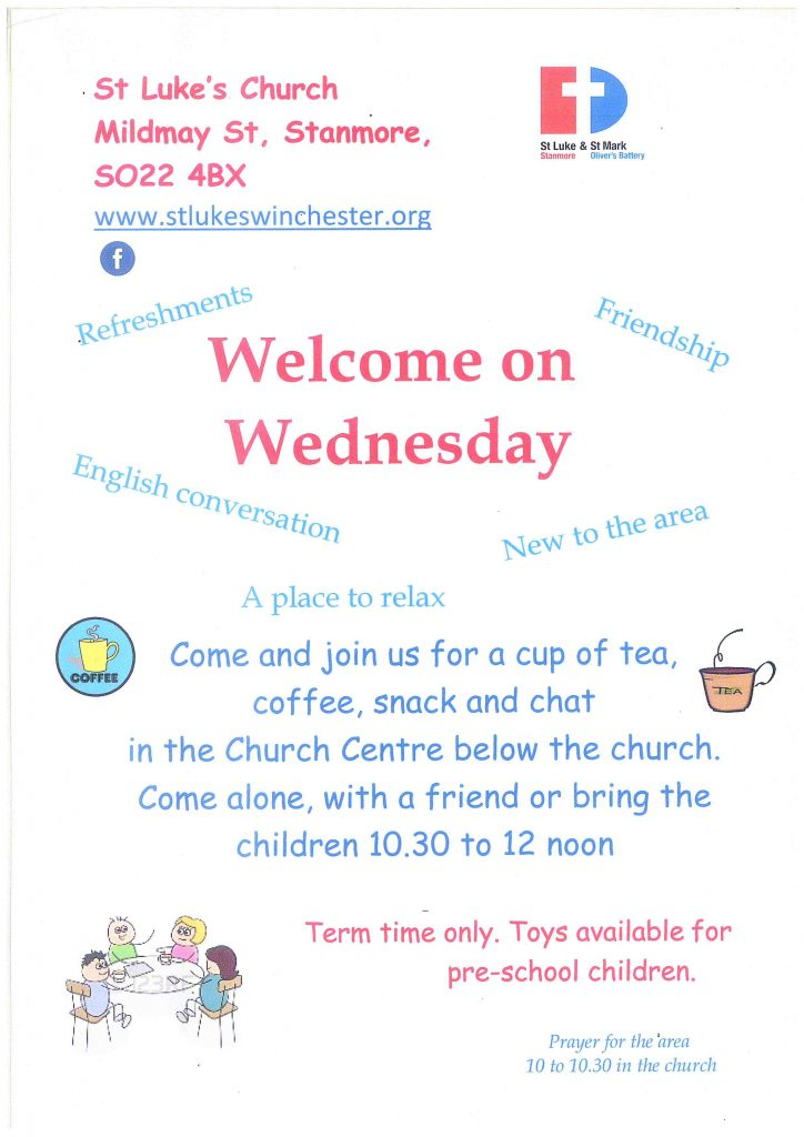 Flyer showing Welcome on Wednesday including friendship, refreshments, a place to relax during term time.