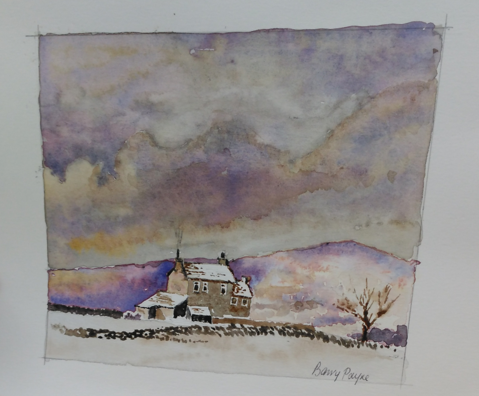 A watercolour of a cottage in the snow with a purple-hued hillside behind.