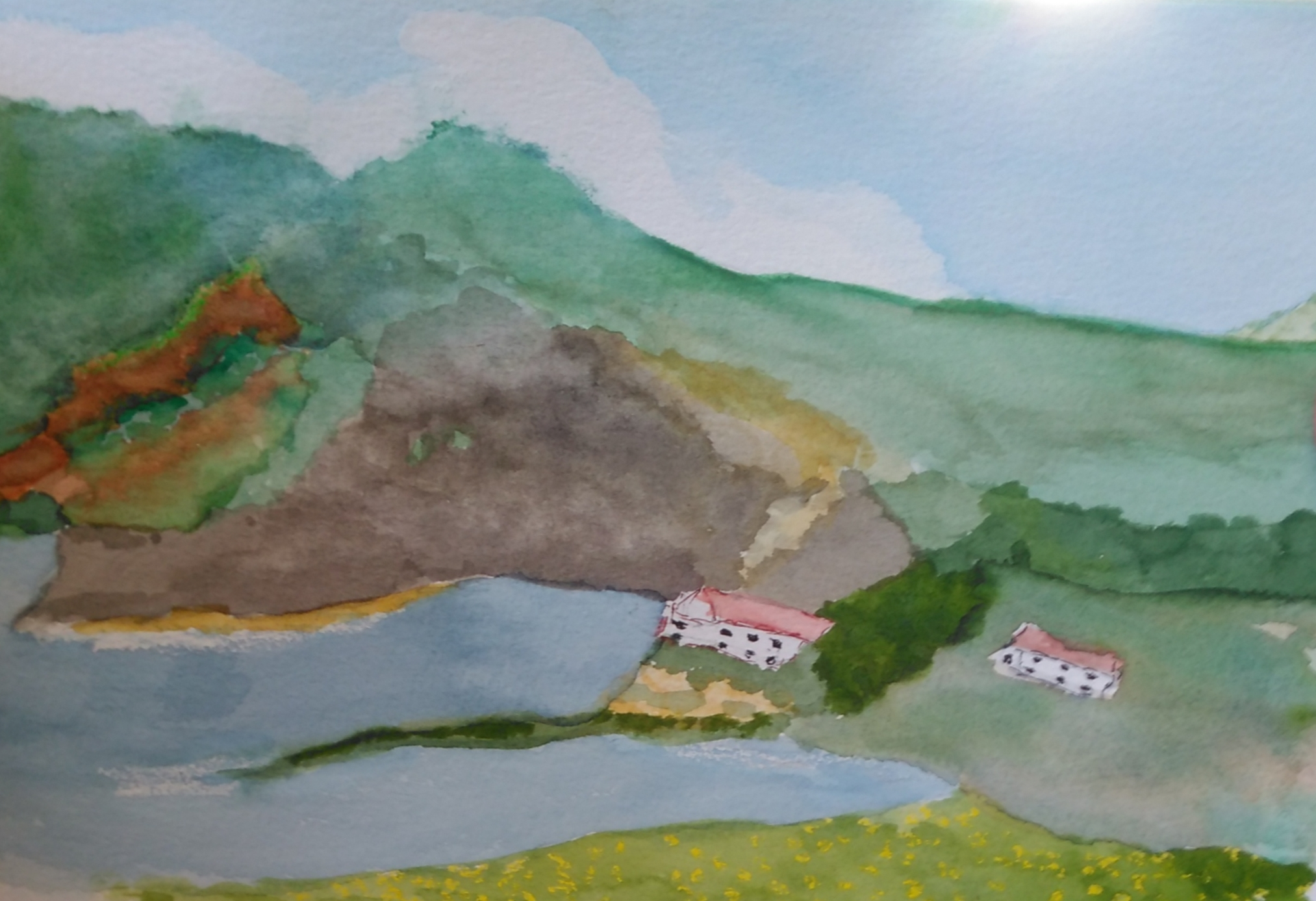 A watercolour of two cottages nestled in the hillside next to a lake.
