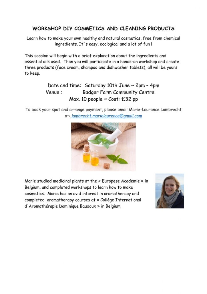 DIY Workshop creating your own cosmetics and cleaning products from natural sources.