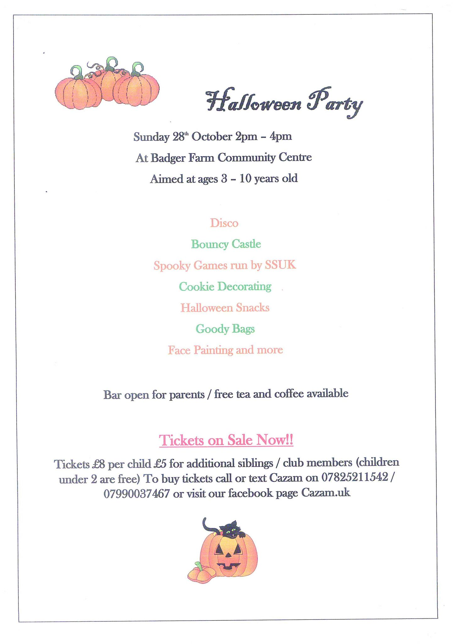 Details of Halloween Party on 28 October