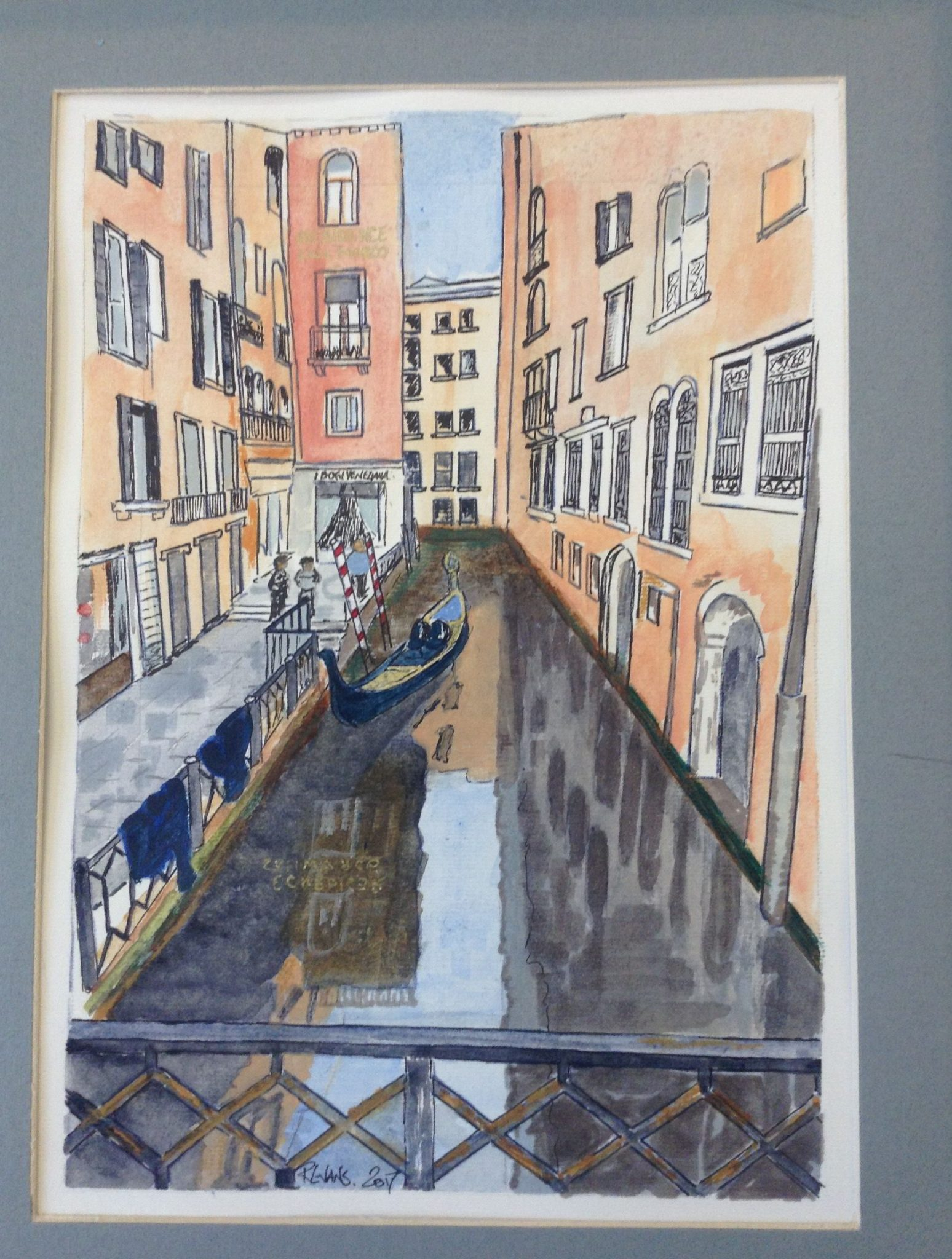 A watercolour painting of a gondola in a Venetian canal