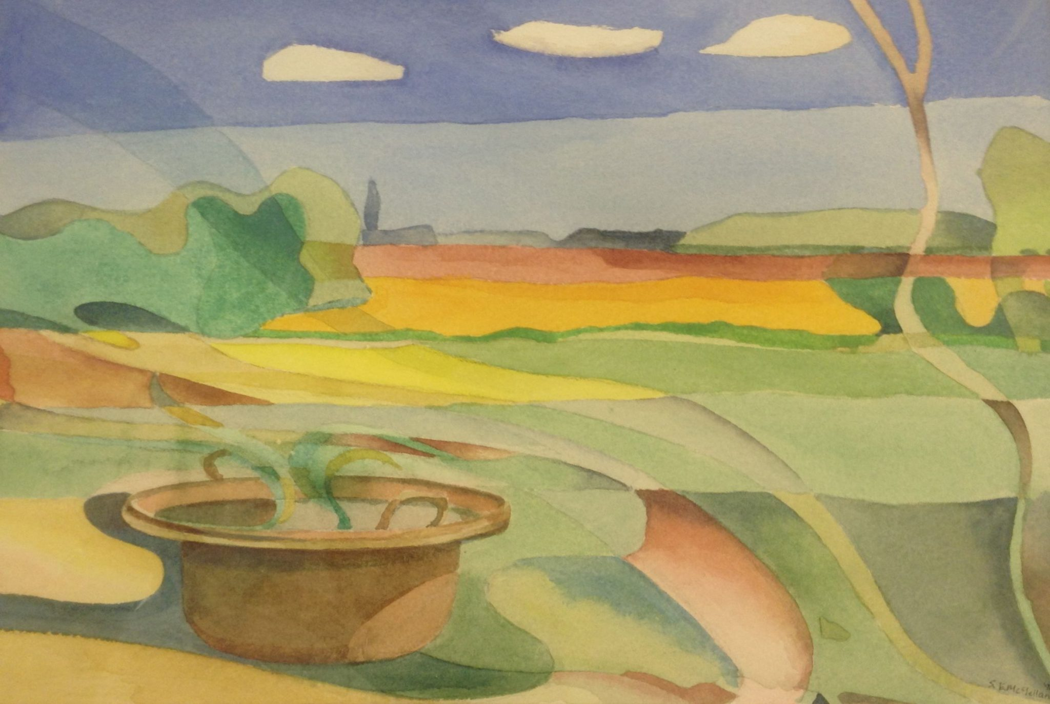 A stylised watercolour painting of a plant in a terracotta pot and a view across fields to a distant church