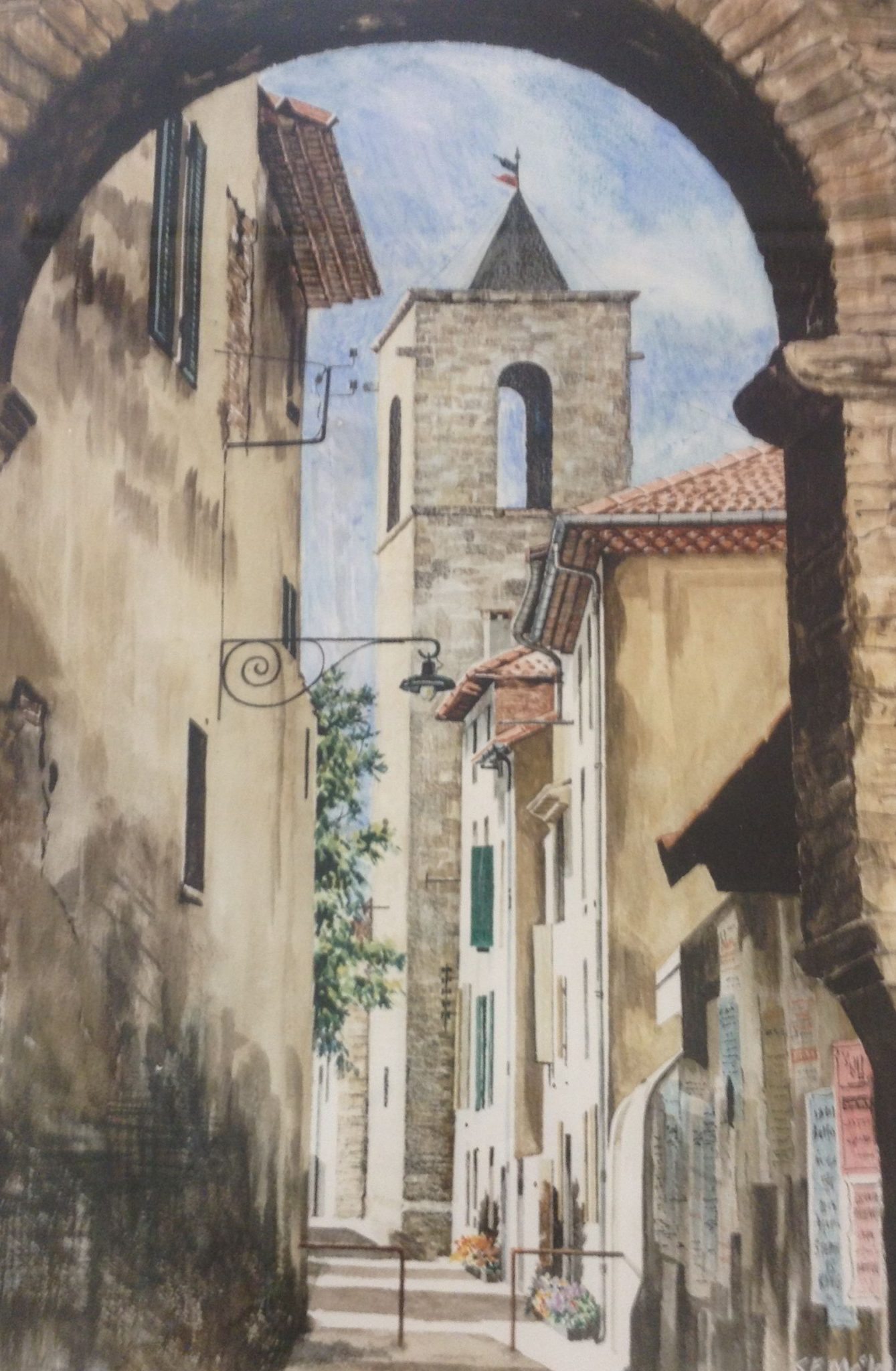 A watercolour painting, titled Orange, of a Provencal street leading to an old tower