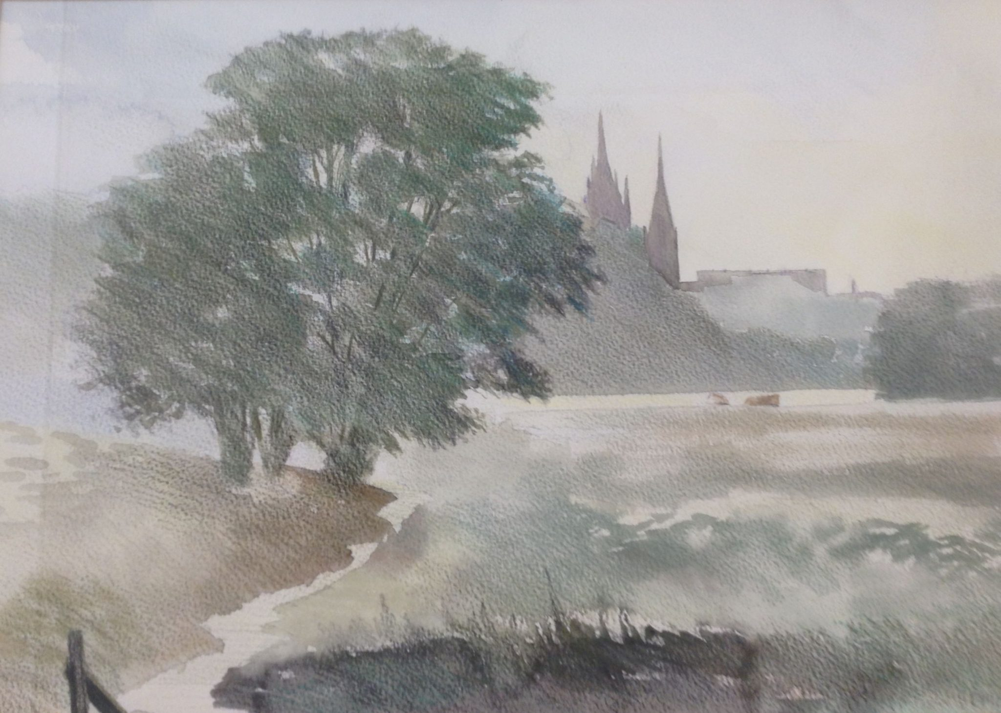 A watercolour painting of a view across misty fields