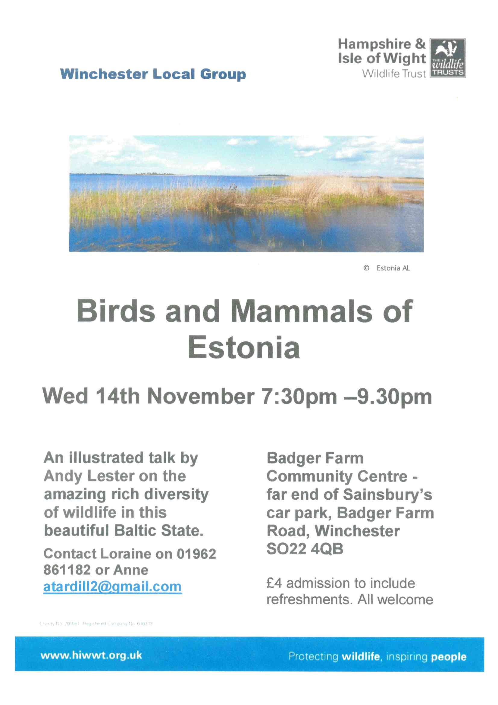 Talk by Andy Lester on the amazing rich diversity of wildlife in this beautiful Baltic State,