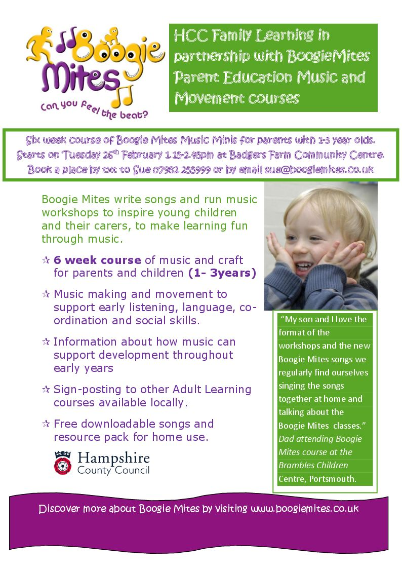Six week course of Boogie Mites Music Minis for Parents with 1-3 year olds.