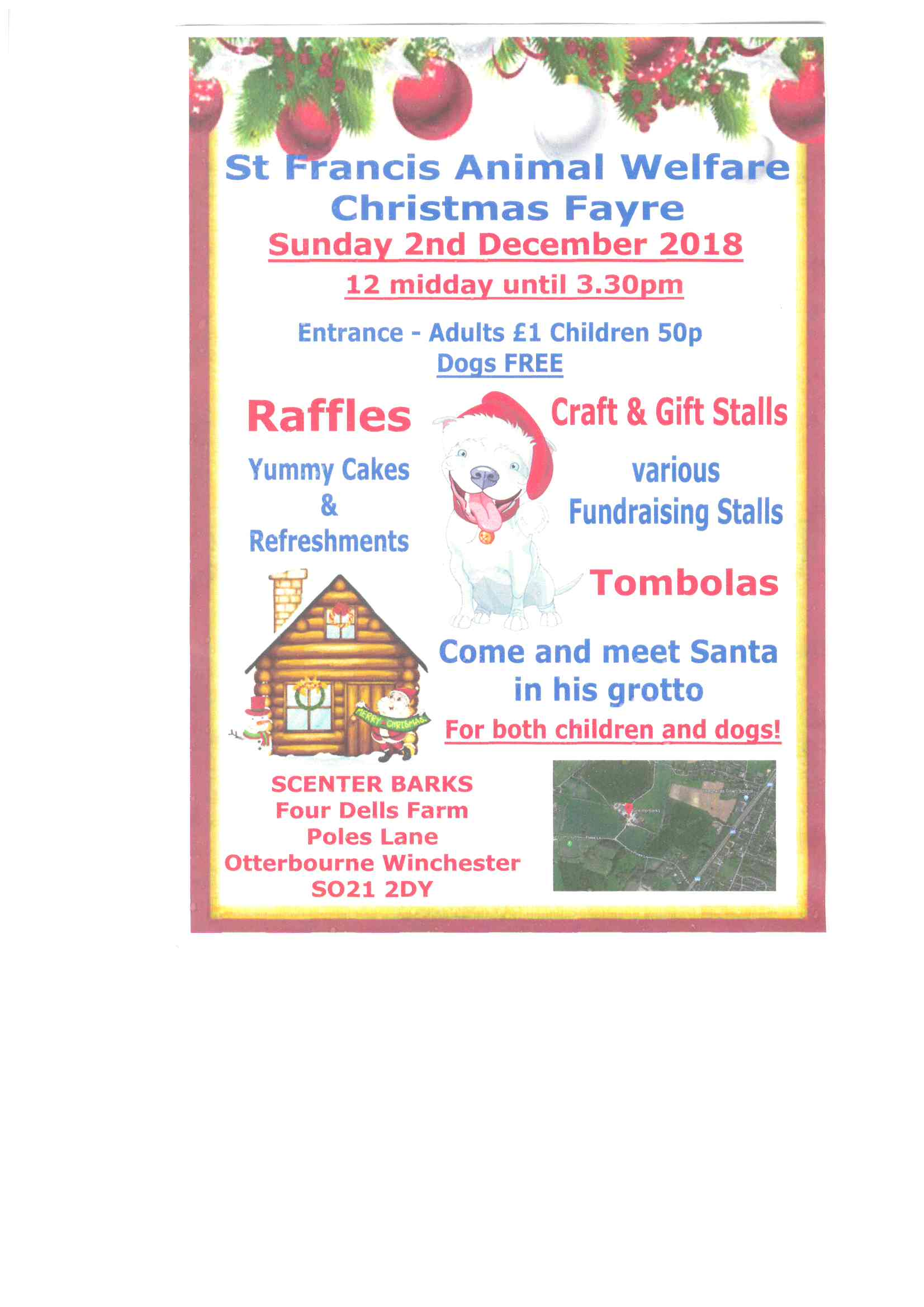 Flyer detailing faffles, craft and gift stalls, cakes and refreshments.