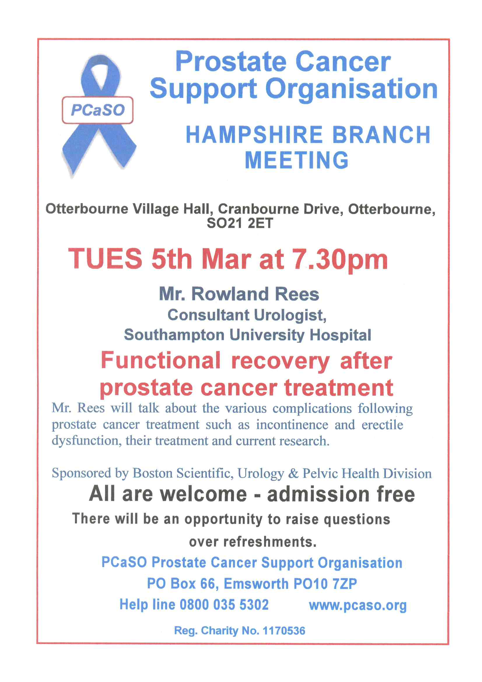 The PCSO are holding their Hampshire Branch Meeting on Tuesday 5 March at 7.30pm at Ottrbourne Village Hall.