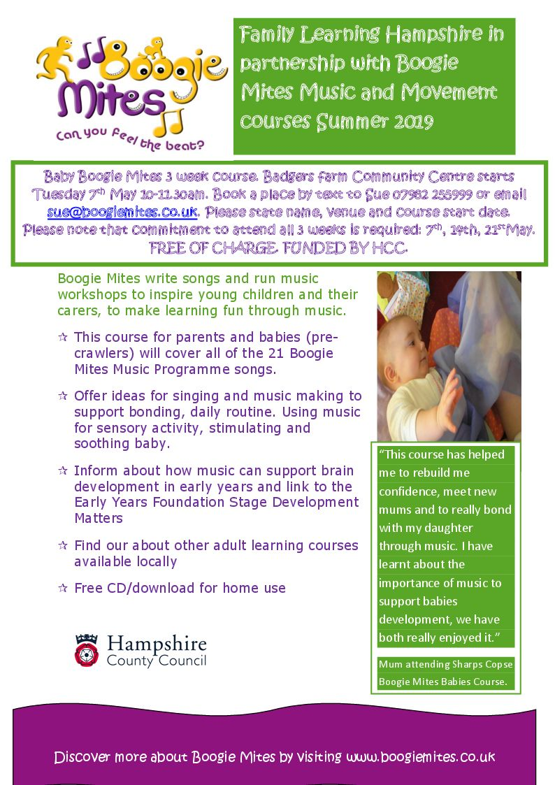Colourful poster with pictures and full details of next three week course.