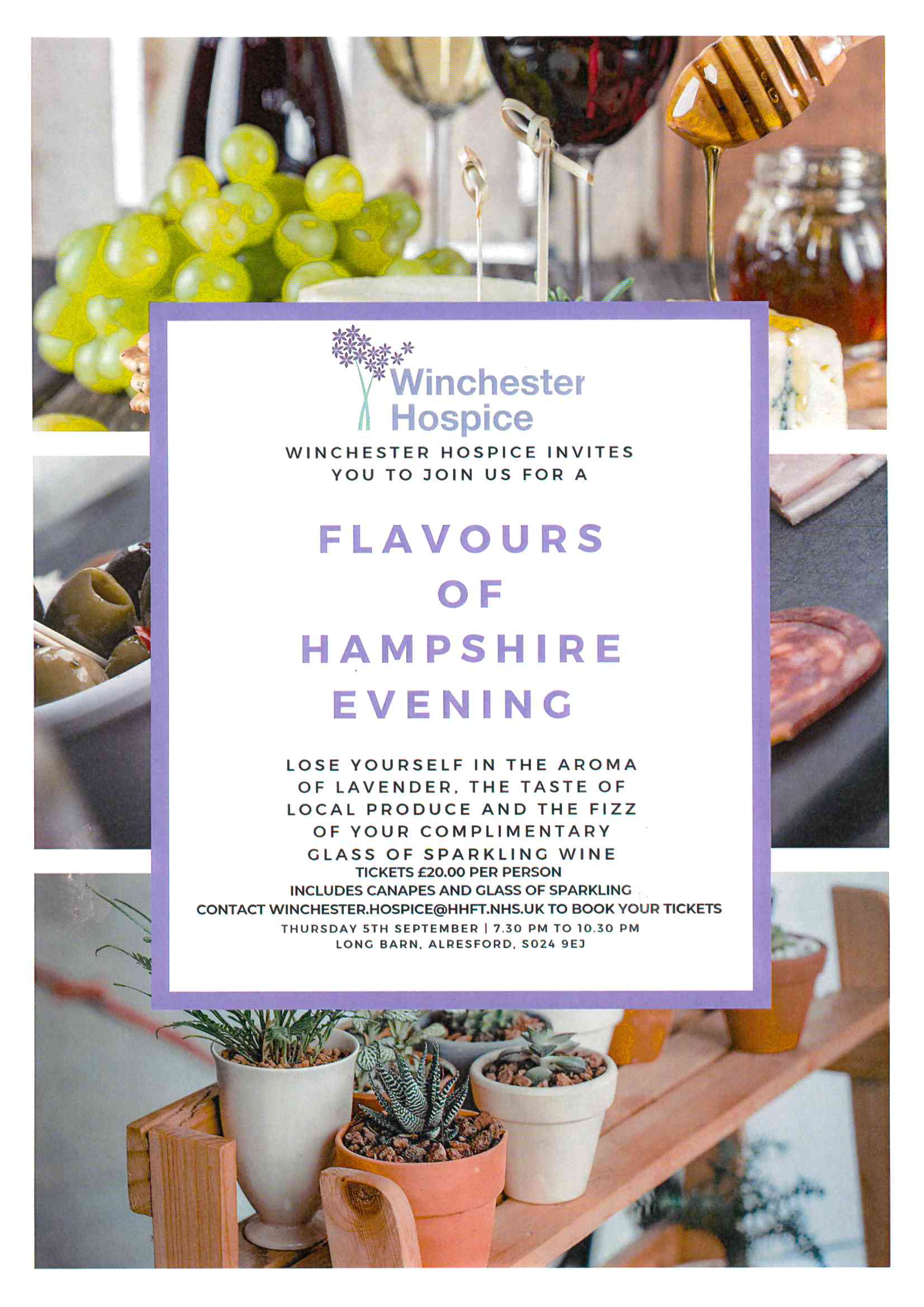 Flavours of Hampshire an evening of tasting the delights this County has to offer. Thursday 5 September.