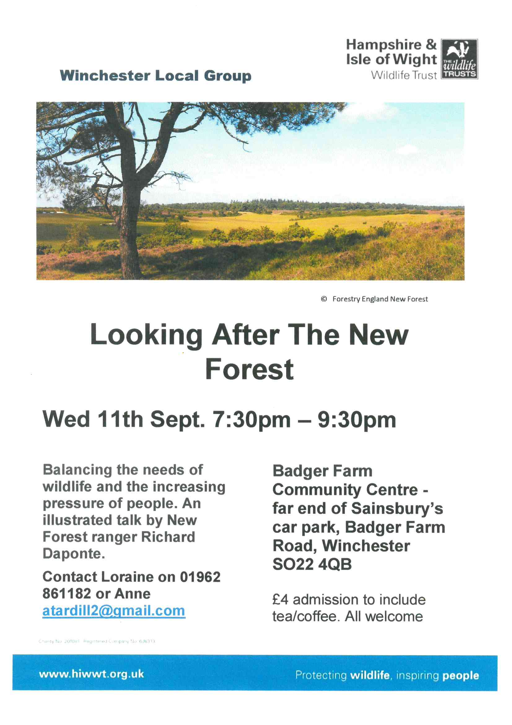 Poster giving full details of a talk at Hampshire Wildlife Trust next meeting on 11 September at Badger Farm.