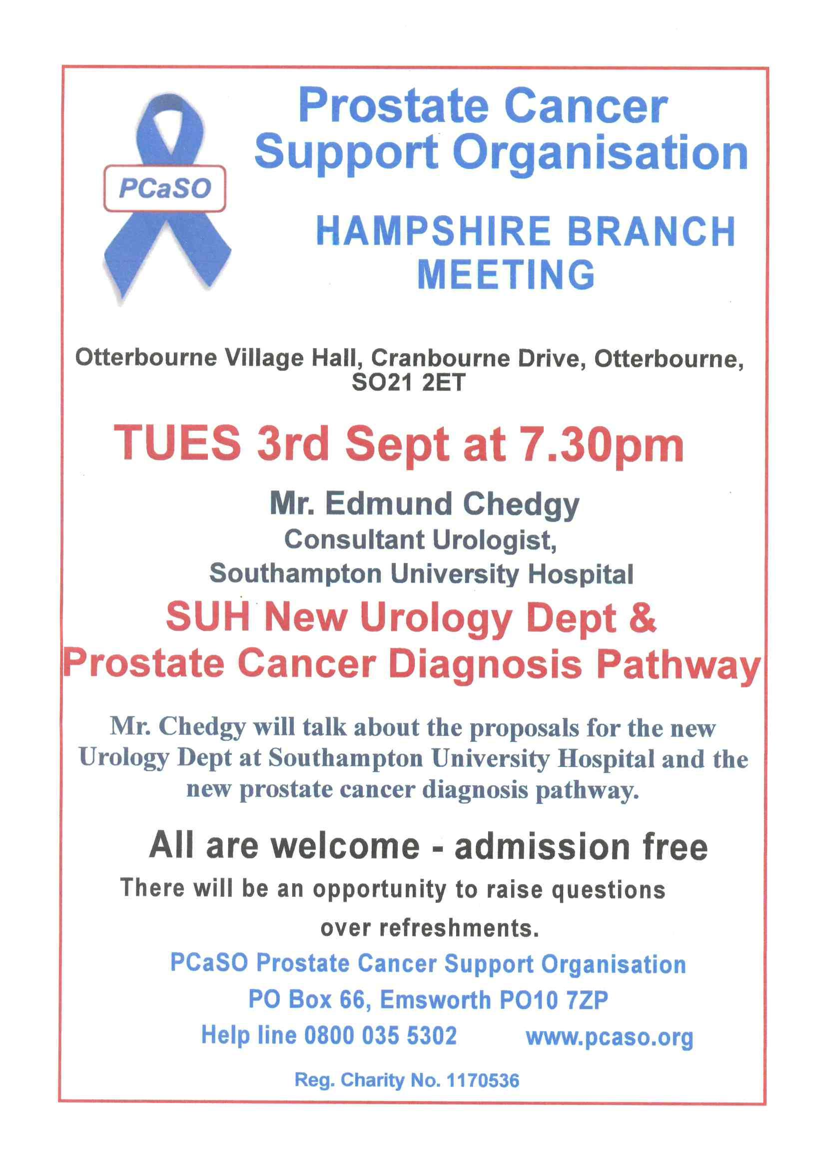 Prostate Cancer Meeting on 3 September