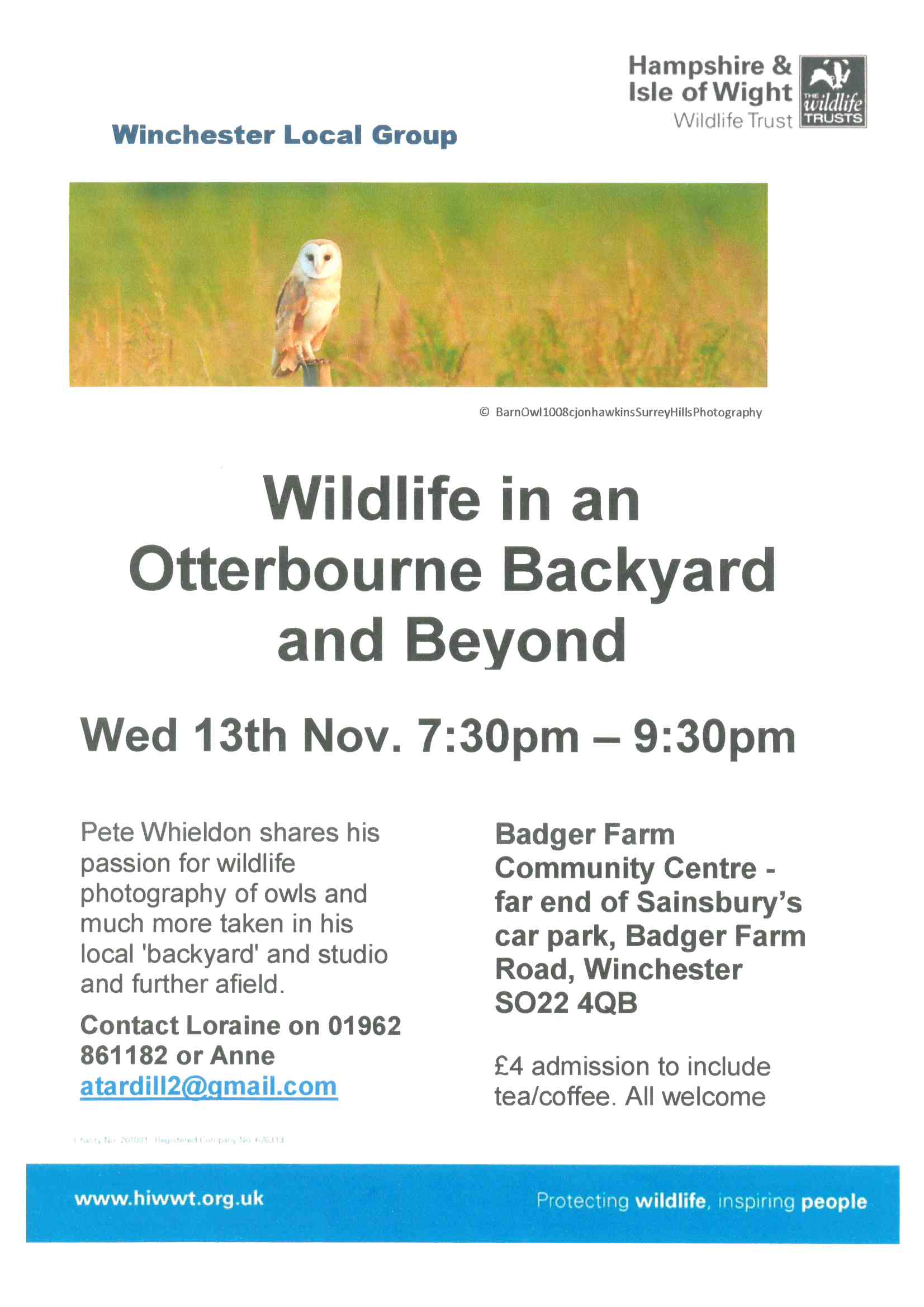 A talk on Wildlife in an Otterbourne Backyard and beyond. Picture of a bsrn owl.