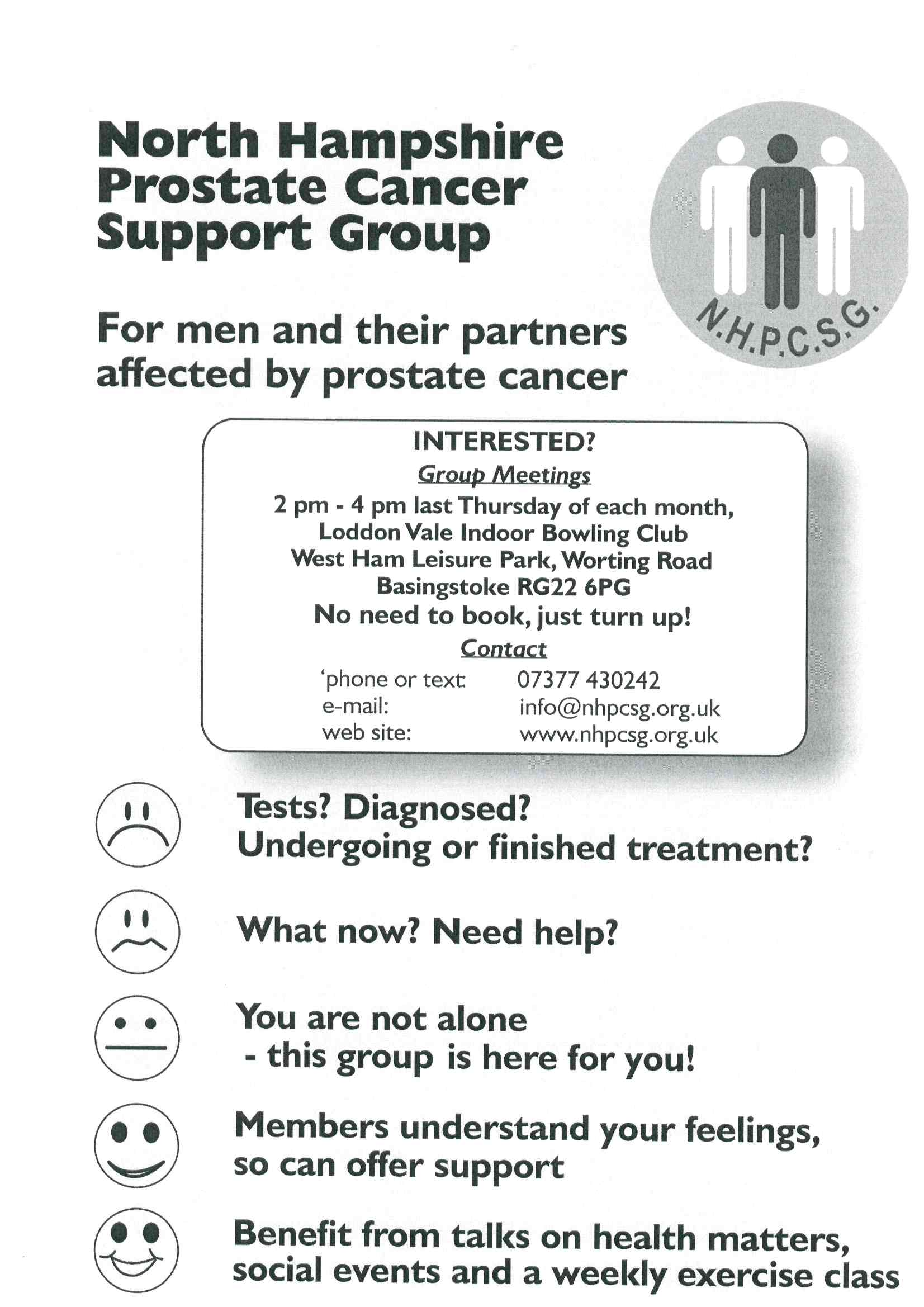Full details of the regular meetings of North Hampshire Prostate Cancer Support Group