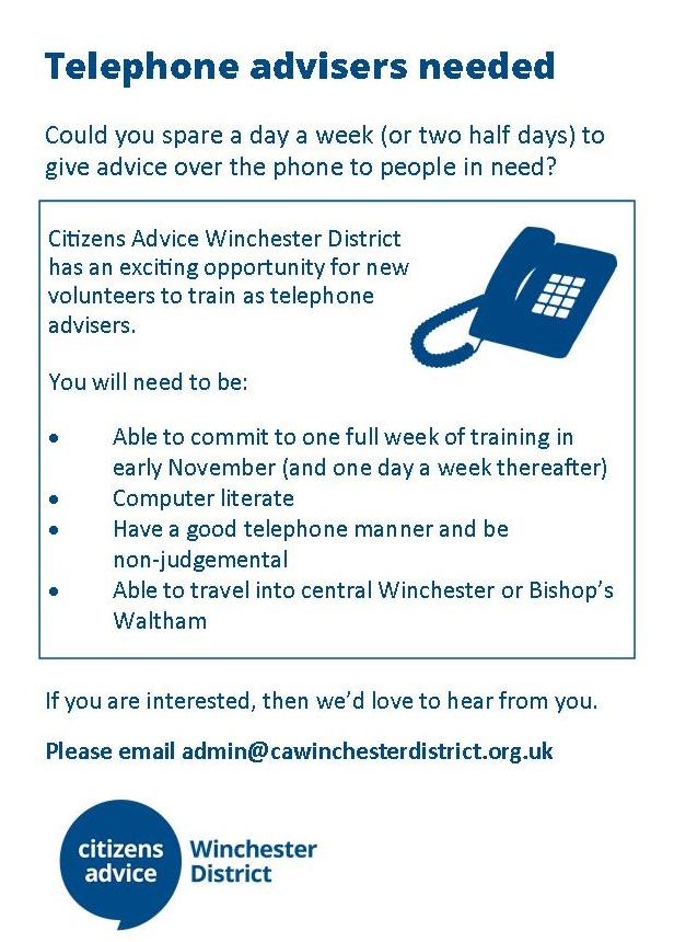 Telephone Advisers Required for Citizens Advice, Winchester