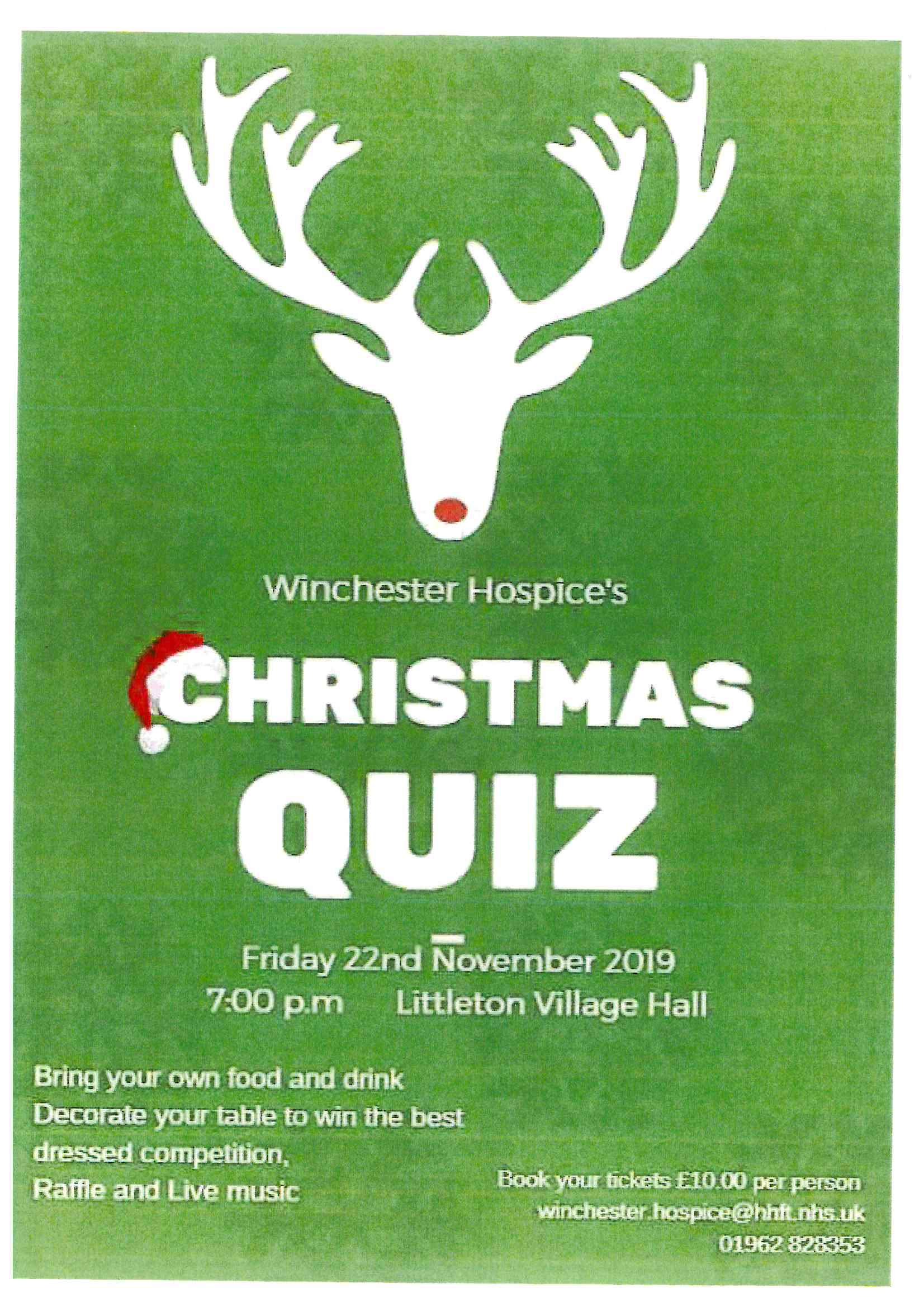 Christmas Quiz on behalf of Winchester Hospice at Littleton Village Hall.