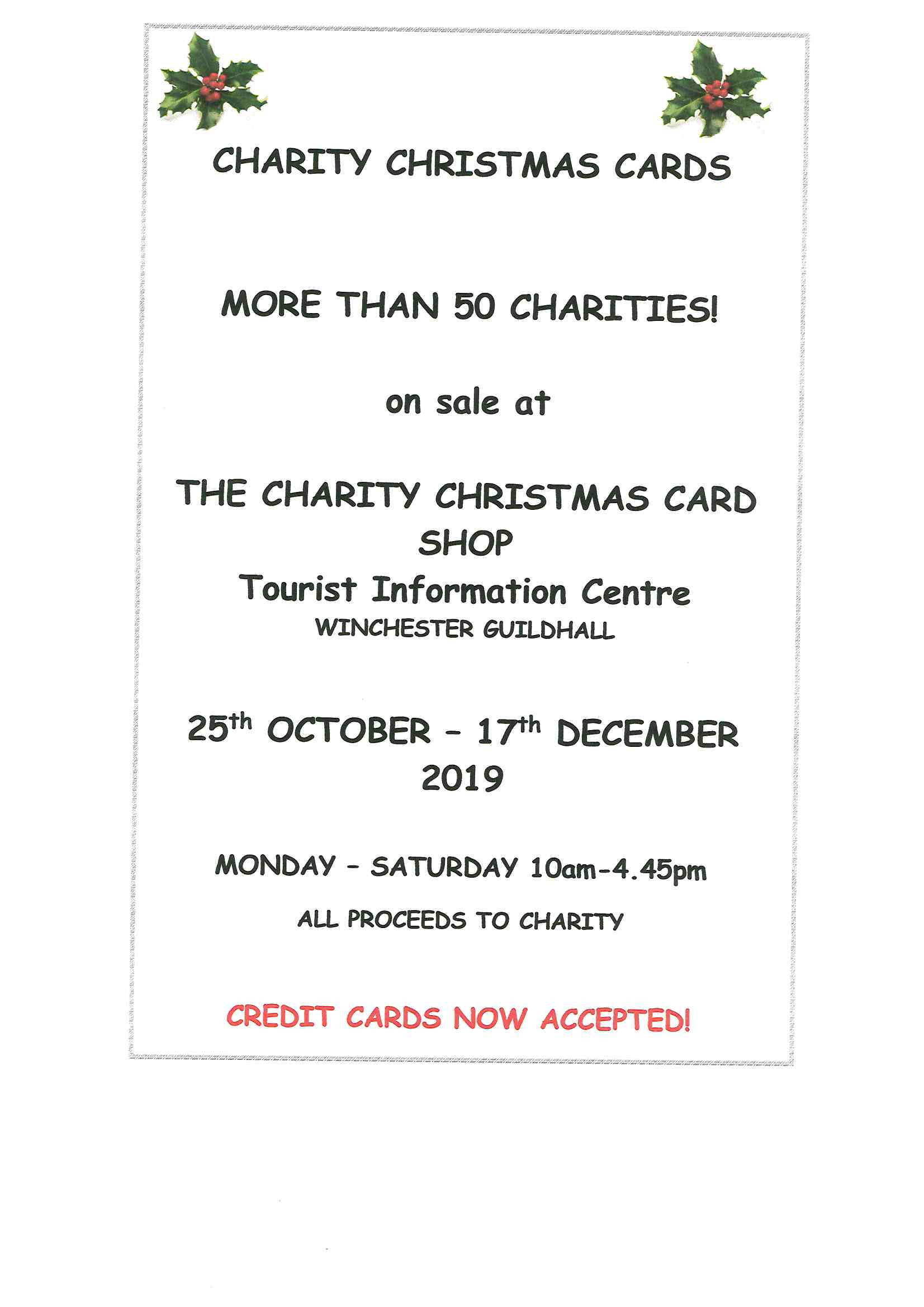 Charity Christmas Cards on sale at Winchester Guildhall from 25 October to 17 December.
