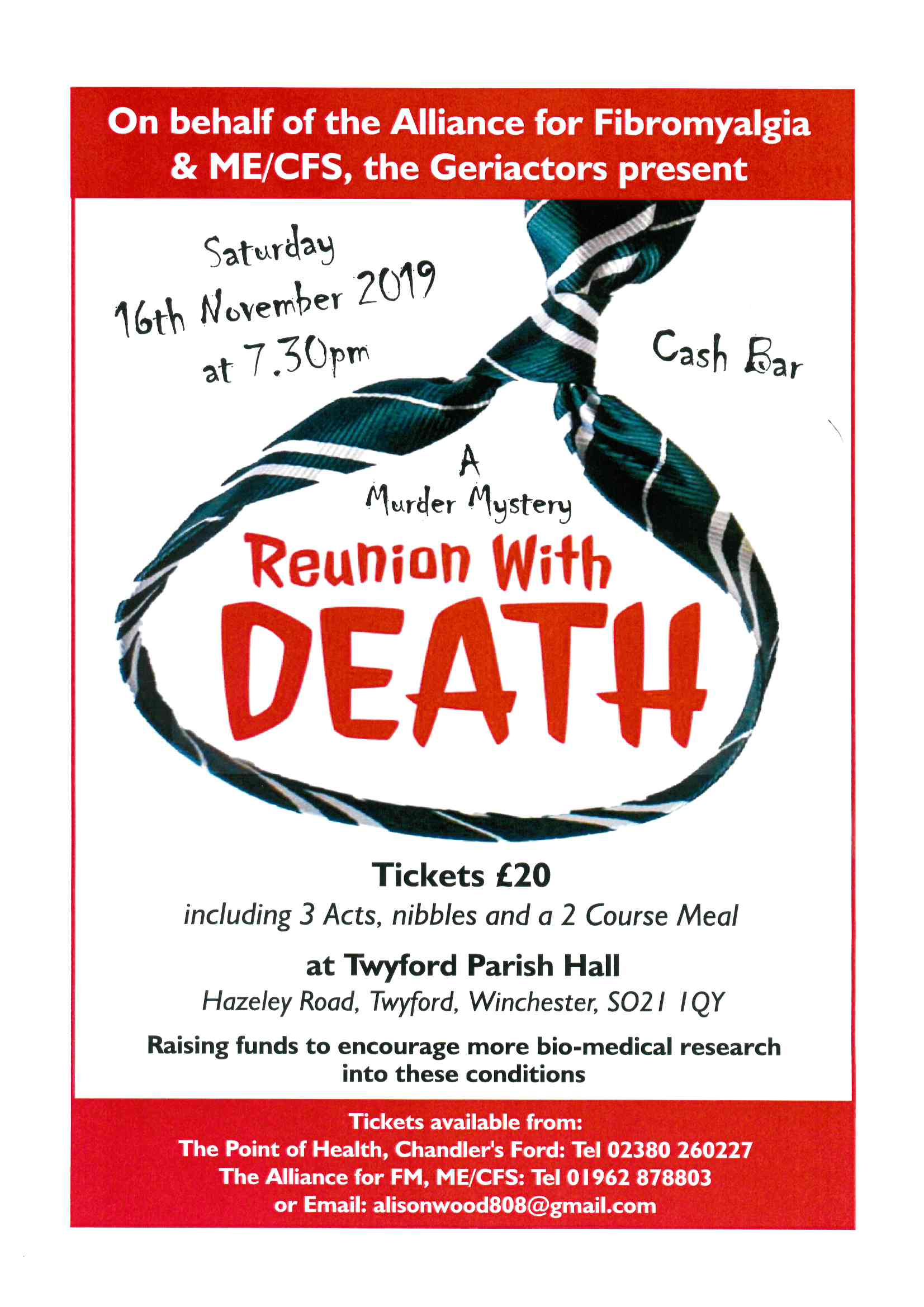 A Reunion with Death a play in support of the Alliance for Fibromyalgia and ME/CFS