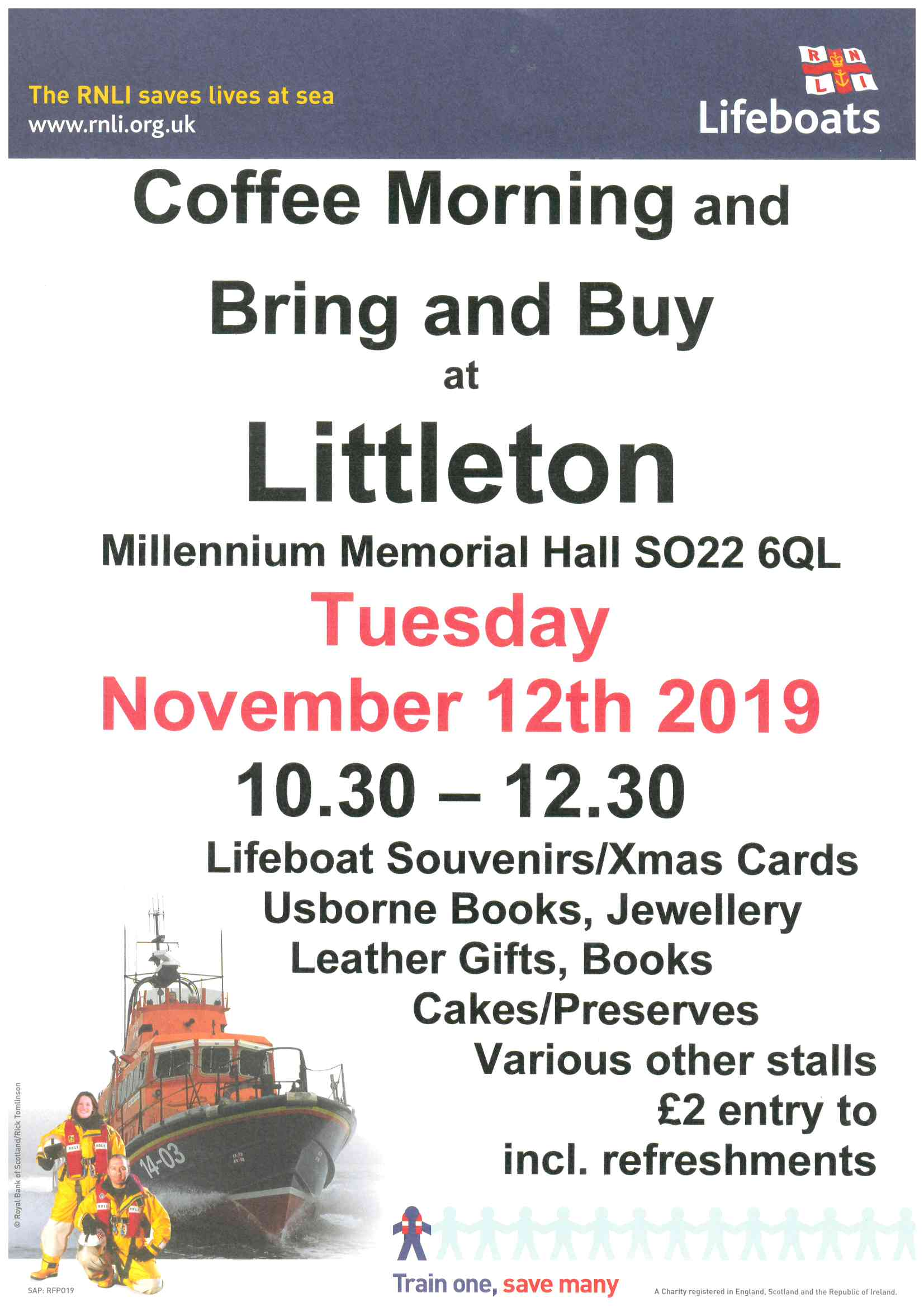 Details of Coffee Morning and Bring and Buy in aid of RNLI with picture of lifeboat.