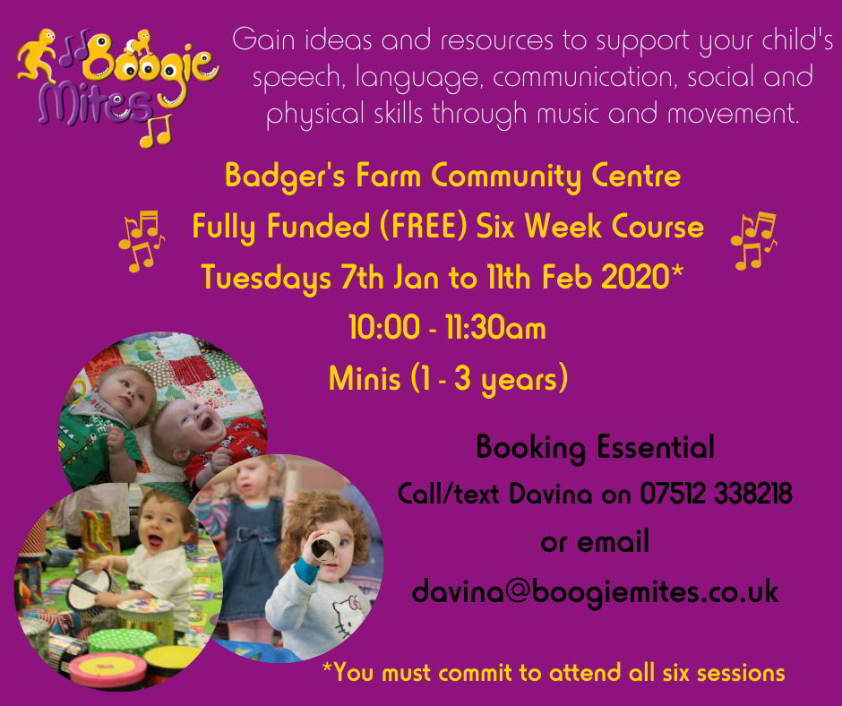 Boogie Mites are holding a free course for 1-3 year olds at the Community Centre in January 2020.