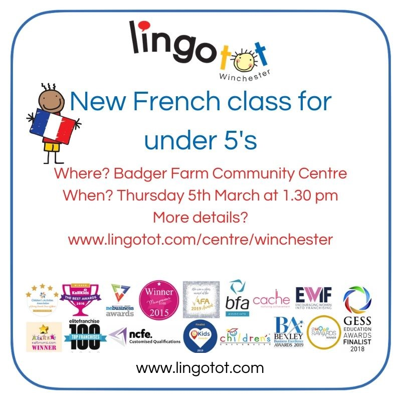 New Lingotot French class for under 5's at Badger Farm Community Centre in Winchester