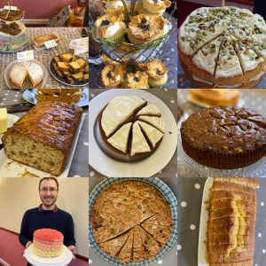 A composite image of cakes served at the Chat-Tea Café