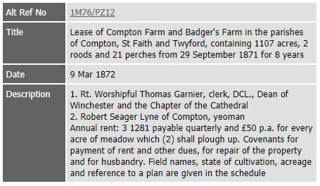 Hampshire County Council record pertaining to the Lease of Compton Farm and Badger's Farm in the parishes of Compton, St Faith and Twyford