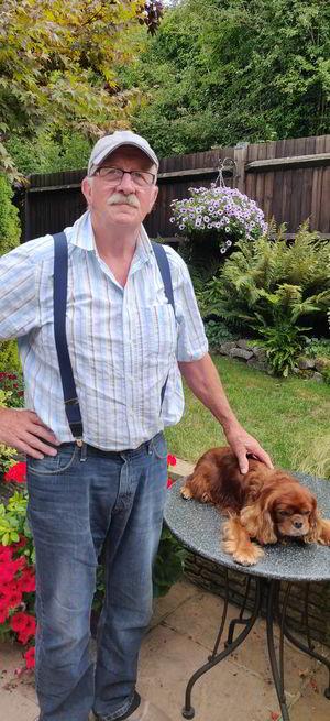 Badger Farm Community Centre's Caretaker Merv with his dog Charlie