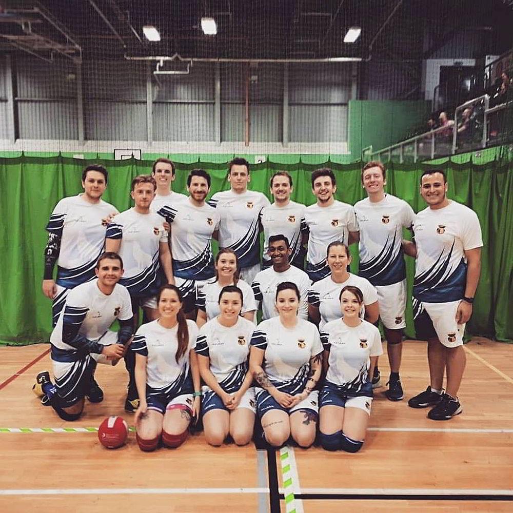 A mixed dodgeball team
