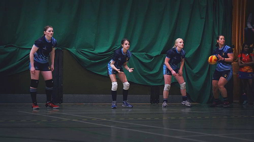 Women playing dodgeball