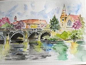 Watercolour painting of a bridge over a river
