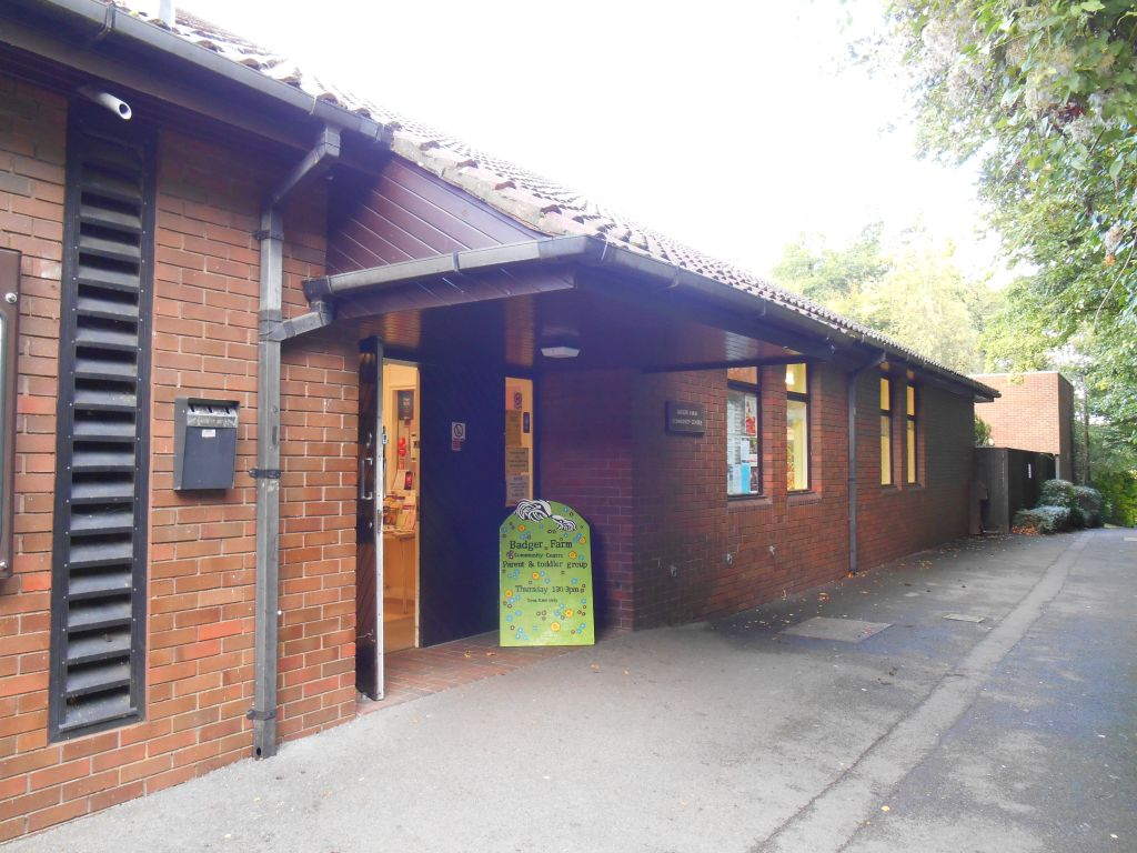 The entrance to the Badger Farm Community Centre