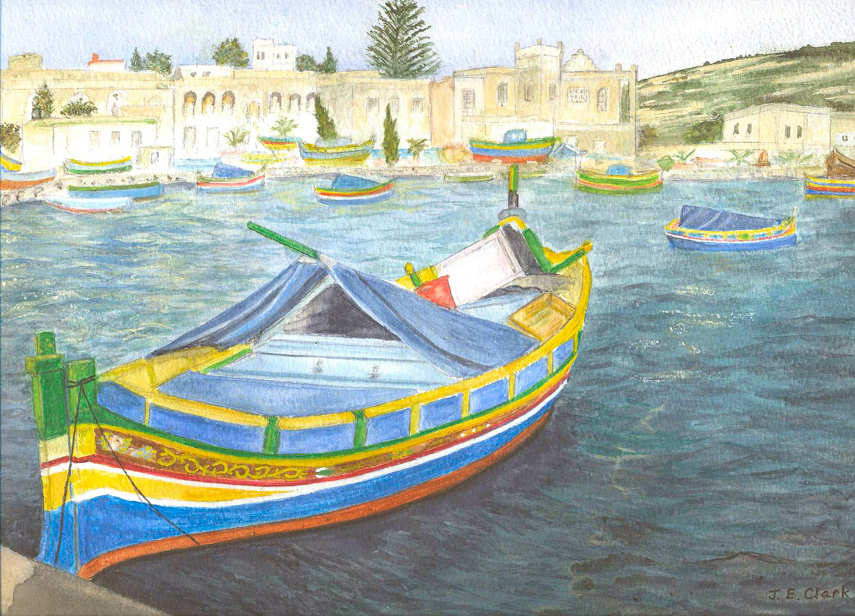 Water colour of Mediterranean Boat in harbour.