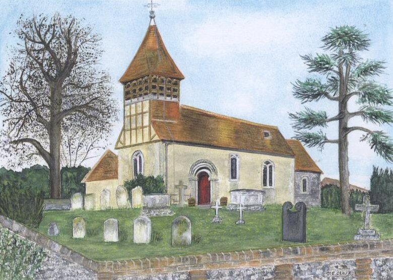 Water colour painting of Martyr Worthy Church
