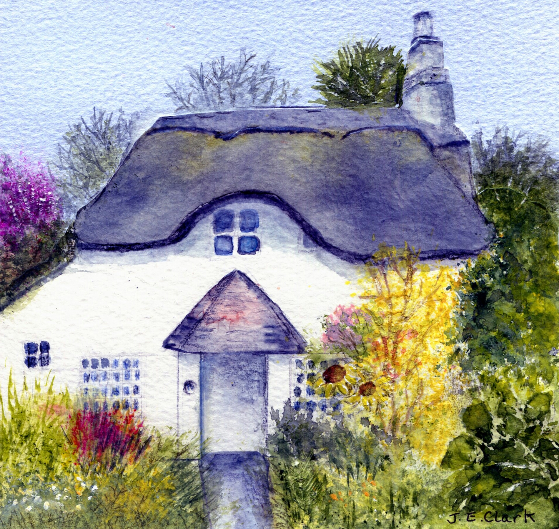 Water colour of thatched cottage in countryside.