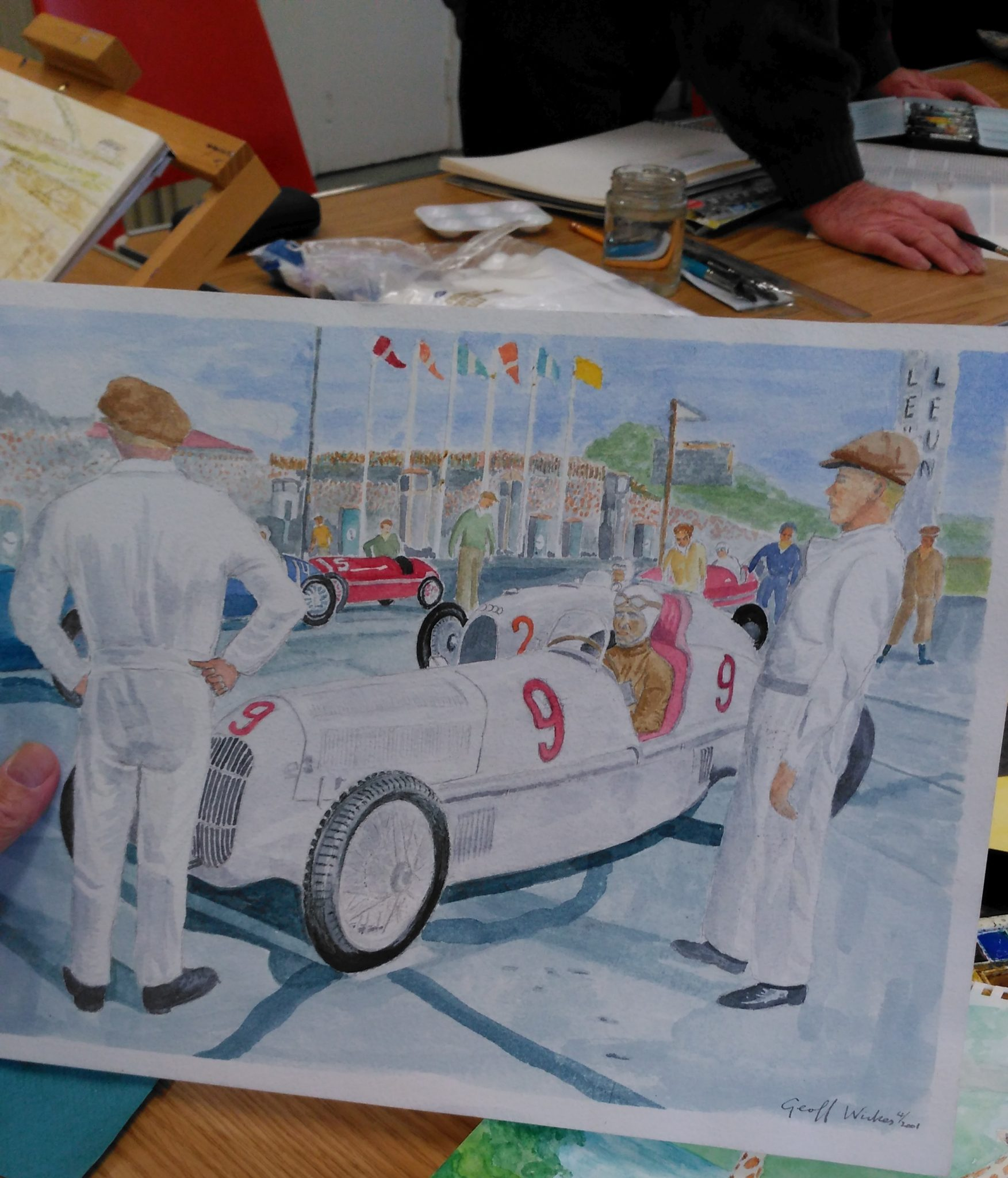 Painting of a racing car.