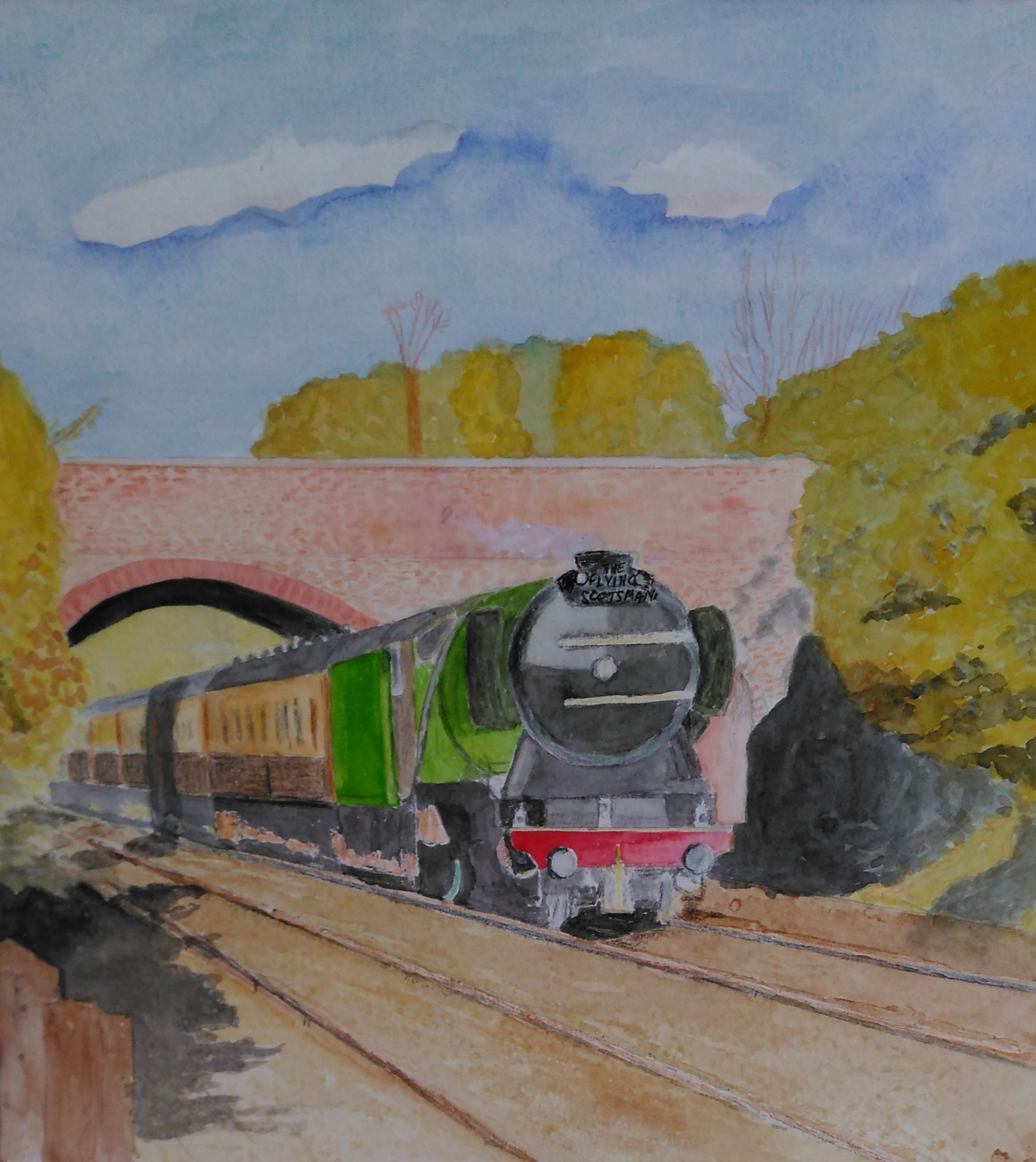 A watercolour of the Flying Scotsman going under a bridge.