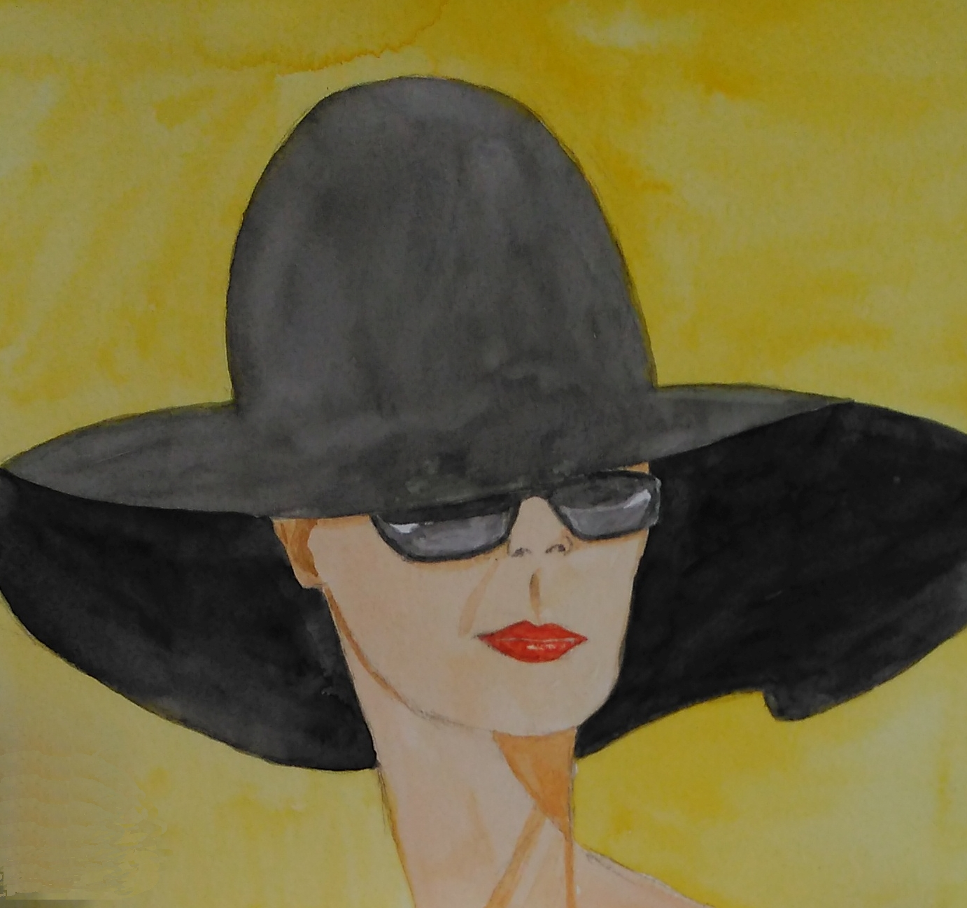 A watercolour of a lady's head with sunglasses and a large black hat.