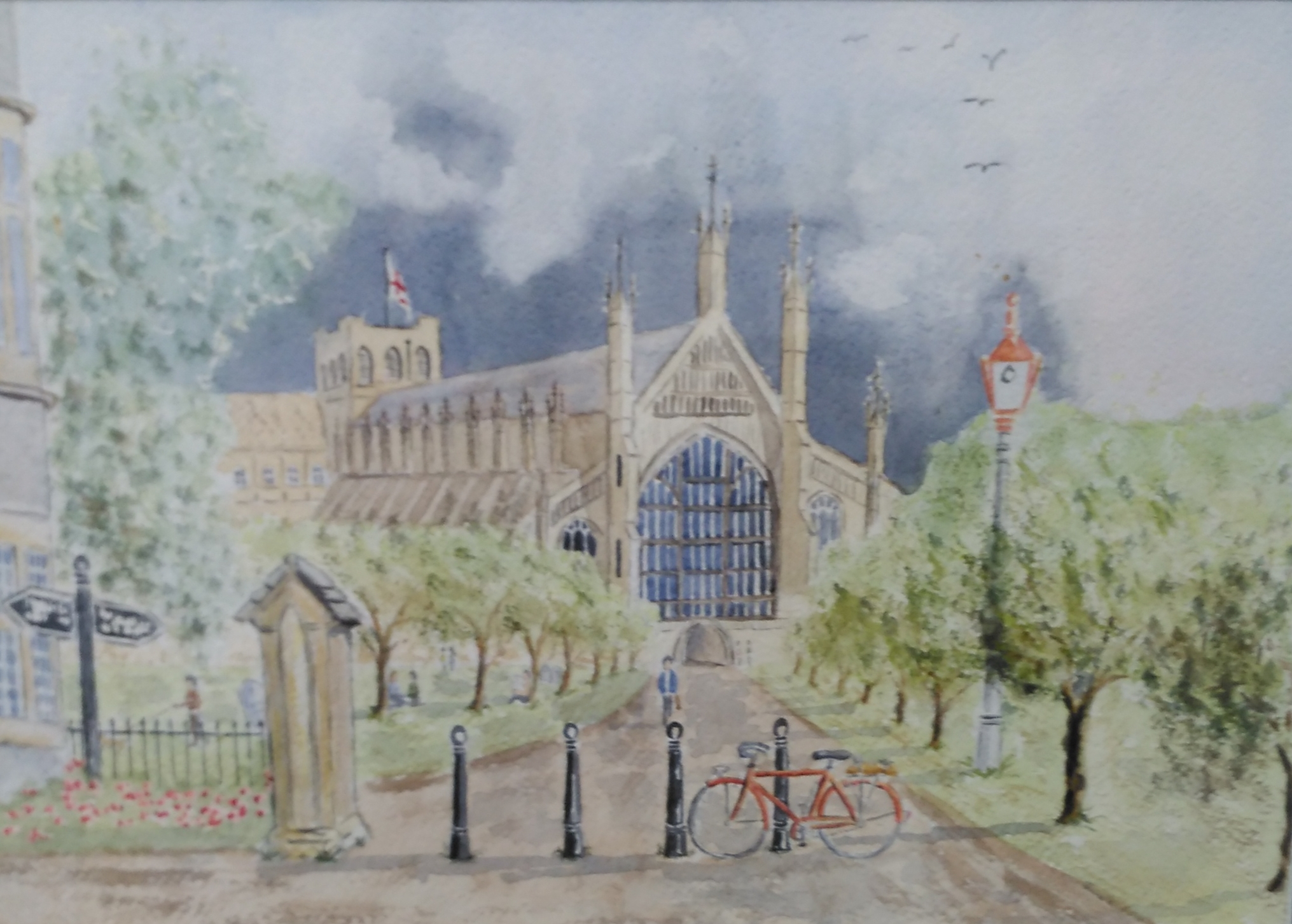 A watercolour of Winchester Cathedral.