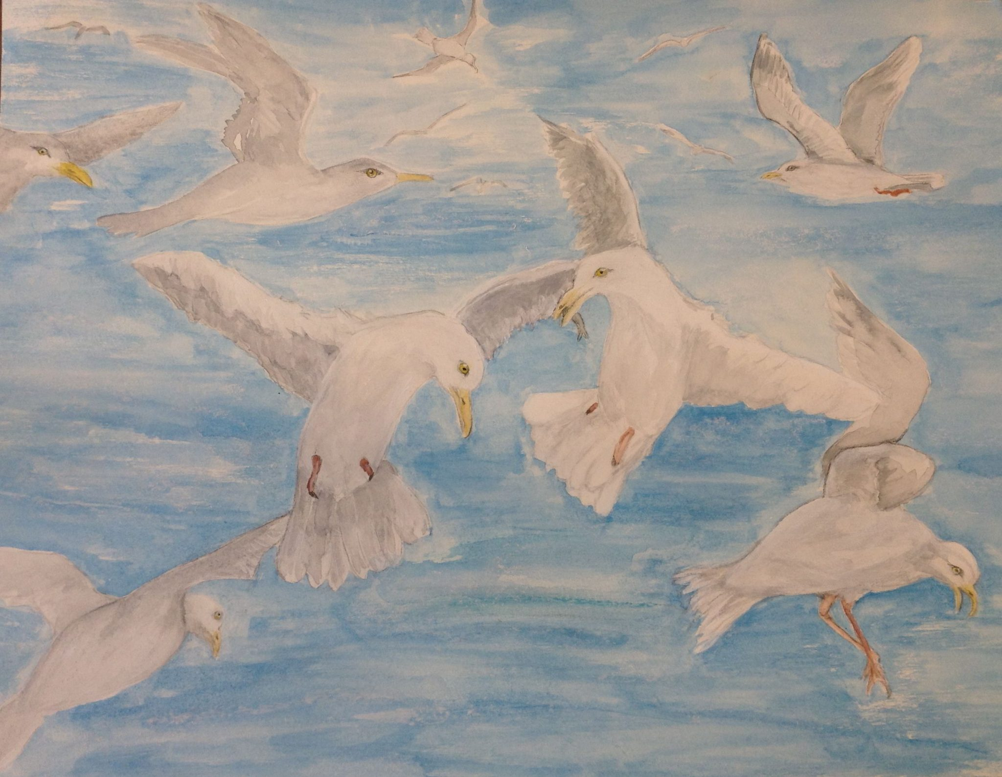 A watercolour painting of seagulls