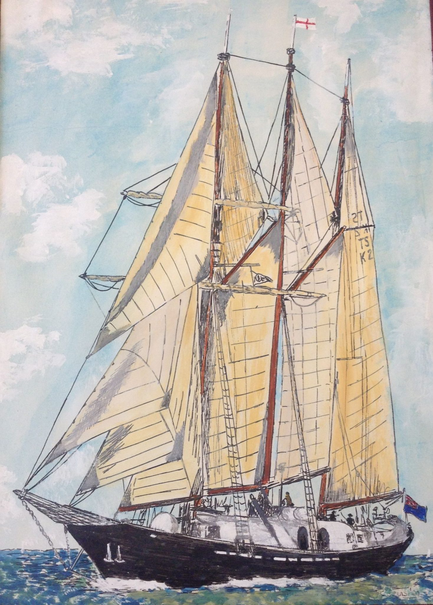 A watercolour painting of a sailing ship